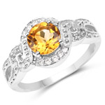 3.00 Carat Genuine Citrine and White Topaz .925 Sterling Silver Ring