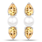 3.48 Carat Genuine Citrine and Pearl .925 Sterling Silver Earrings
