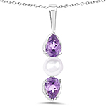 1.44 Carat Genuine Amethyst and Pearl .925 Sterling Silver Pendant