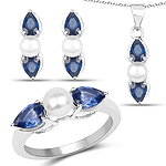 7.36 Carat Genuine Blue Sapphire and Pearl .925 Sterling Silver Ring, Pendant and Earrings Set