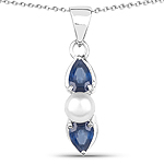 1.54 Carat Genuine Blue Sapphire and Pearl .925 Sterling Silver Pendant