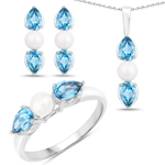 6.24 Carat Genuine Blue Topaz and Pearl .925 Sterling Silver Ring, Pendant and Earrings Set