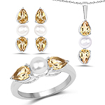 """6.96 Carat Genuine Citrine and Pearl .925 Sterling Silver Ring, Pendant and Earrings Set"""