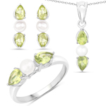 5.76 Carat Genuine Peridot and Pearl .925 Sterling Silver Ring, Pendant and Earrings Set