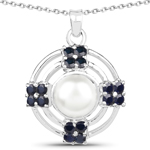 4.30 Carat Genuine Pearl and Blue Sapphire .925 Sterling Silver Pendant