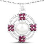4.30 Carat Genuine Pearl and Ruby .925 Sterling Silver Pendant