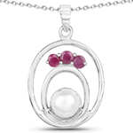 2.34 Carat Genuine Pearl and Ruby .925 Sterling Silver Pendant