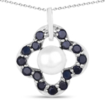 3.08 Carat Genuine Pearl and Blue Sapphire .925 Sterling Silver Pendant