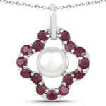 3.08 Carat Genuine Pearl and Ruby .925 Sterling Silver Pendant