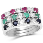 1.56 Carat Genuine Multi Stone .925 Sterling Silver Ring