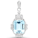6.61 Carat Genuine Aquamarine and White Diamond 14K White Gold Pendant