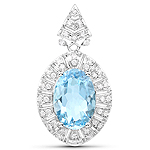 4.48 Carat Genuine Aquamarine and White Diamond 14K White Gold Pendant