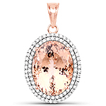 17.02 Carat Genuine Morganite and White Diamond 14K Rose Gold Pendant
