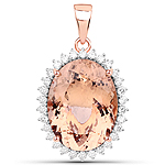 20.03 Carat Genuine Morganite and White Diamond 14K Rose Gold Pendant
