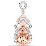 12.81 Carat Genuine Morganite and White Diamond 14K Rose Gold Pendant