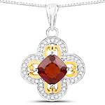 1.63 Carat Genuine Garnet and White Diamond 14K Yellow Gold with .925 Sterling Silver Pendant