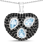 3.39 Carat Genuine Blue Topaz & Black Spinel .925 Sterling Silver Pendant