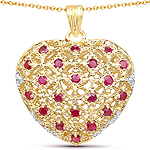 14K Yellow Gold Plated 1.00 Carat Genuine Ruby .925 Sterling Silver Pendant