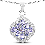 1.53 Carat Genuine Tanzanite .925 Sterling Silver Pendant