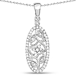 0.22 Carat Genuine White Diamond .925 Sterling Silver Pendant