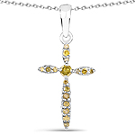 0.22 Carat Genuine Yellow Diamond .925 Sterling Silver Pendant