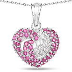 2.75 Carat Genuine Ruby and White Sapphire .925 Sterling Silver Pendant