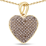 14K Yellow Gold Plated 0.68 Carat Genuine Champagne Diamond .925 Sterling Silver Heart Shape Pendant