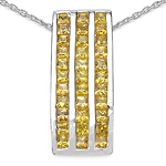 2.16 Carat Genuine Yellow Sapphire .925 Sterling Silver Pendant