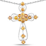 2.24 Carat Genuine Yellow Sapphire .925 Sterling Silver Pendant