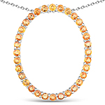 2.88 Carat Genuine Orange Sapphire .925 Sterling Silver Pendant