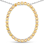 3.84 Carat Genuine Yellow Sapphire .925 Sterling Silver Pendant