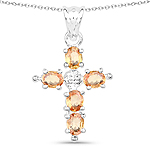 1.10 Carat Genuine Orange Sapphire .925 Sterling Silver Pendant