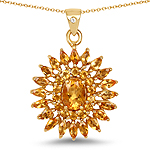 14K Yellow Gold Plated 3.25 Carat Genuine Golden Citrine & White Topaz .925 Sterling Silver Pendant