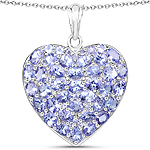 6.30 Carat Genuine Tanzanite .925 Sterling Silver Pendant