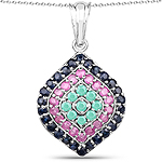 """2.34 Carat Genuine Emerald, Ruby and Blue Sapphire .925 Sterling Silver Pendant"""
