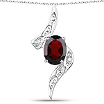 2.02 Carat Genuine Garnet and White Diamond .925 Sterling Silver Pendant