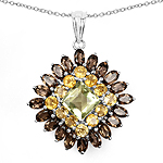 """8.98 Carat Genuine Lemon Quartz, Citrine & Smoky Quartz .925 Sterling Silver Pendant"""