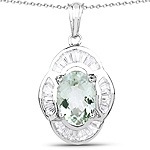 6.76 Carat Genuine Green Amethyst and White Topaz .925 Sterling Silver Pendant