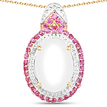 14K Yellow Gold Plated 4.57 Carat Opal and Created Ruby .925 Sterling Silver Pendant