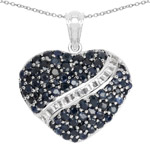 4.60 Carat Genuine Blue Sapphire and White Topaz .925 Sterling Silver Pendant