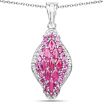 2.49 Carat Genuine Ruby, Rhodolite and White Diamond .925 Sterling Silver Pendant