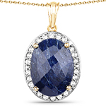 14K Yellow Gold Plated 20.88 Carat Dyed Sapphire and White Topaz .925 Sterling Silver Pendant