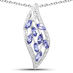 1.12 Carat Genuine Tanzanite .925 Sterling Silver Pendant