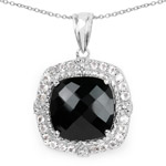 9.47 Carat Genuine Black Onyx and White Topaz .925 Sterling Silver Pendant