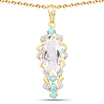 14K Yellow Gold Plated 6.20 Carat Genuine Crystal Quartz & Turquoise .925 Sterling Silver Pendant