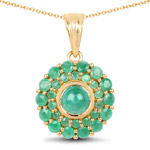 14K Yellow Gold Plated 2.19 Carat Genuine Emerald .925 Sterling Silver Pendant