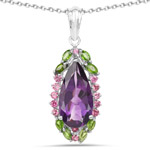 6.22 Carat Genuine Amethyst, Chrome Diopside and Rhodolite .925 Sterling Silver Pendant