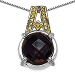 3.16 Carat Genuine Smoky Topaz, Yellow Diamond & White Diamond .925 Sterling Silver Pendant