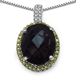 4.85 Carat Genuine Smoky Topaz, Yellow Diamond & White Diamond .925 Sterling Silver Pendant