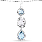 13.10 Carat Genuine Crystal Quartz and Blue Topaz .925 Sterling Silver Pendant